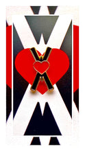 Load image into Gallery viewer, Black and red Heart-OMS symbol Enamel pin