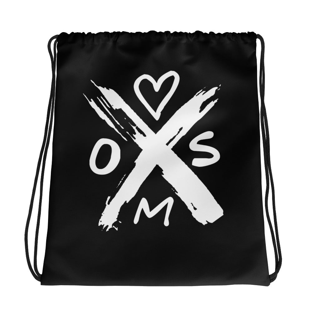 Heart On My Sleeve X Heart black drawstring backpack, gym bag, purse bag with heart, backpack from Heart On My Sleeve