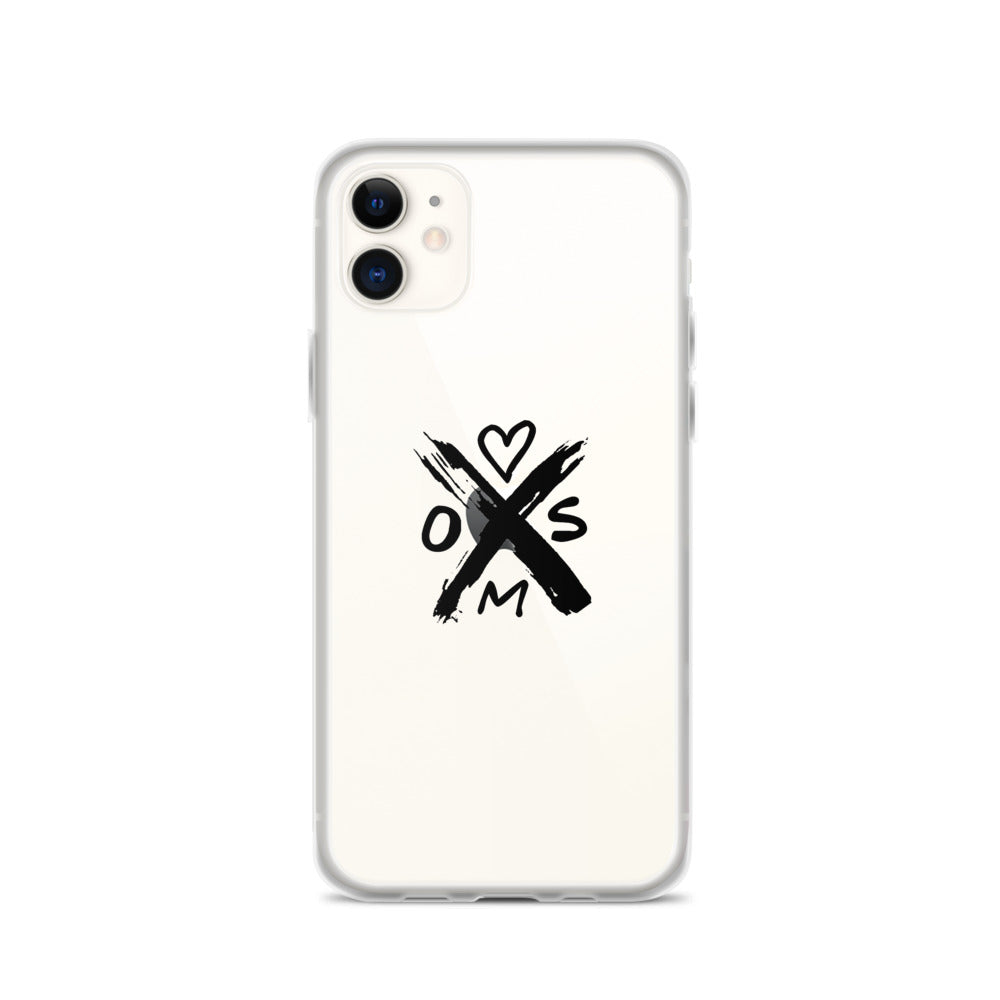 iphone case with Heart On My Sleeve X Heart Symbol, transparent solid back flexible sides HOMS gift,