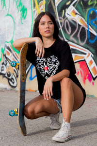 Graffiti Heart T Shirt  - Love Graphic Tee (black)