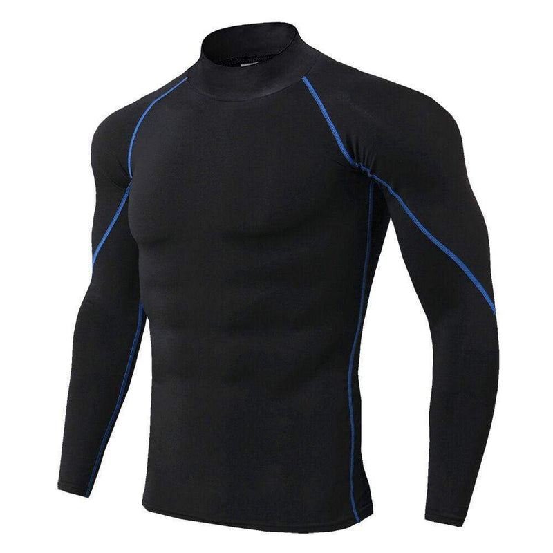 Fitness Long Sleeve Stand Collar PRO Men's T-shirt