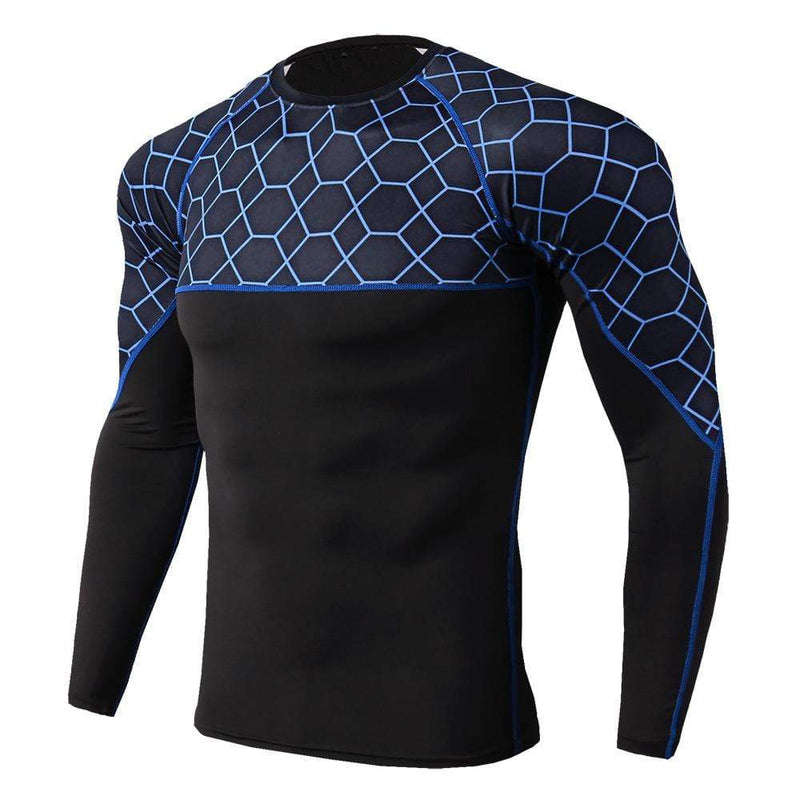 Men's Fitness Print Splicing Long Sleeve Tight T-Shirt