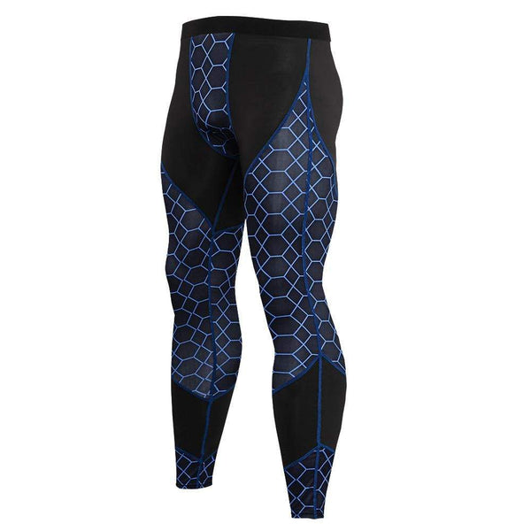 Men's Sports Fitness Stitching Printed Tight Pants