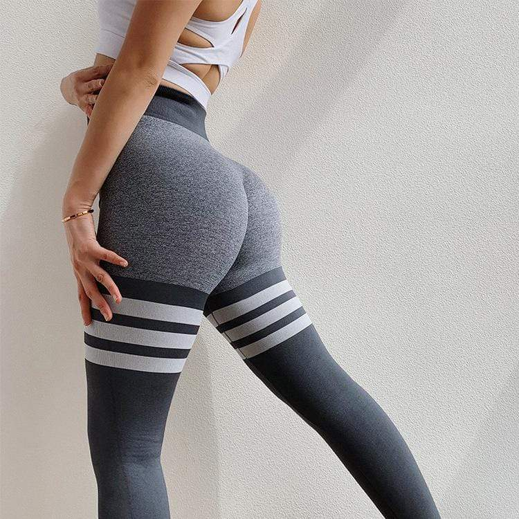 High Waist Push Up Striped Skinny Stretch Yoga Pants