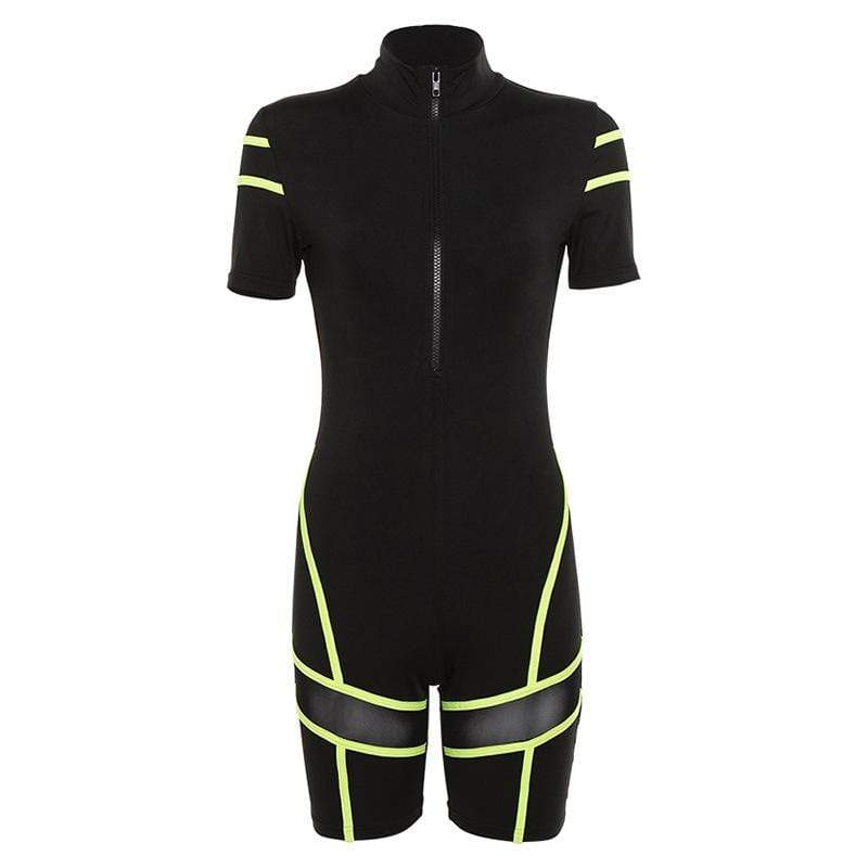 Sexy Mesh Perspective Sports Jumpsuit