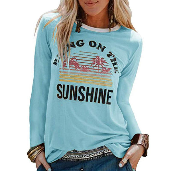 Letter printed round neck long sleeve t-shirt