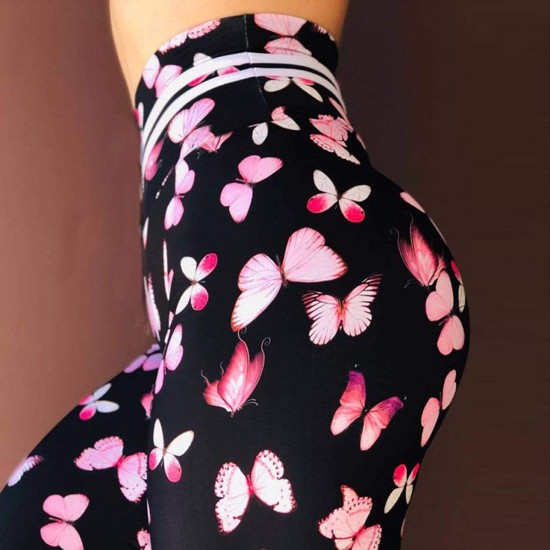 High Waist Push Up butterfly Printed Leggings