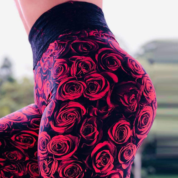 High Waist Push Up Rose Printed Leggings