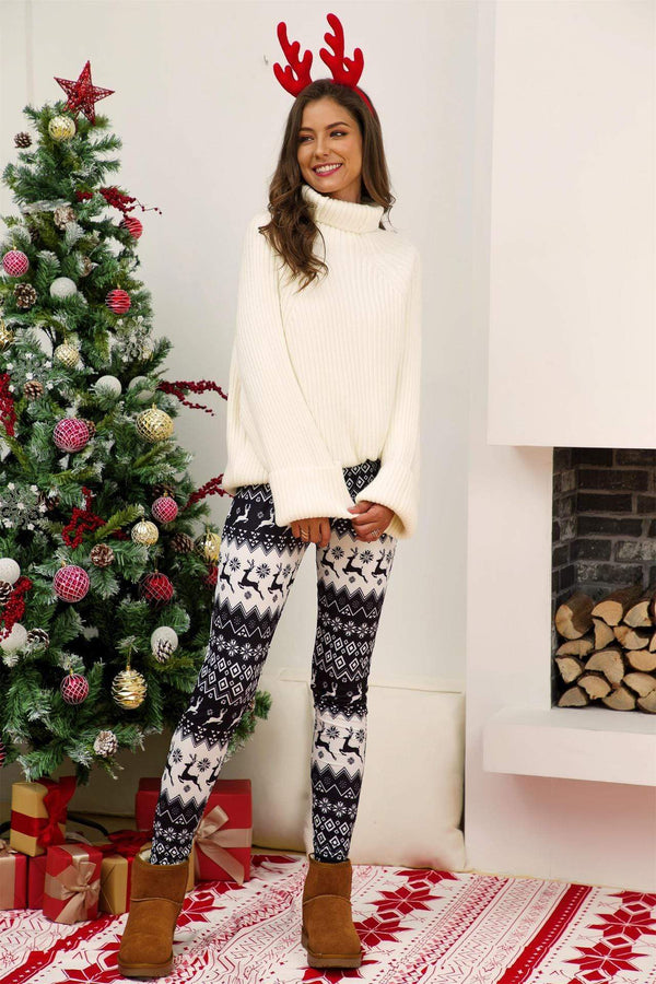 Christmas Moose Printed Leggings