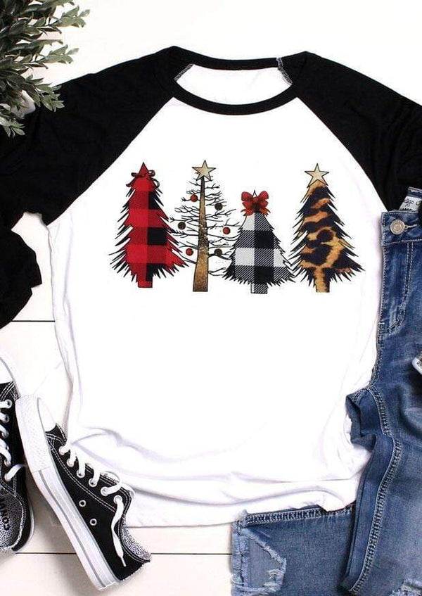 Leopard Christmas tree pattern print round neck cropped sleeve t-shirt