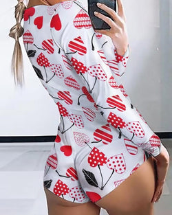Cherry Printed Lounge Romper