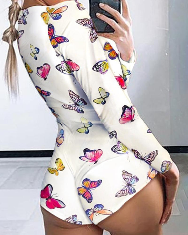 Butterfly Printed Lounge Romper