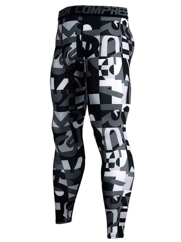 Men's Sports Fitness Letter Printed Tight Pants