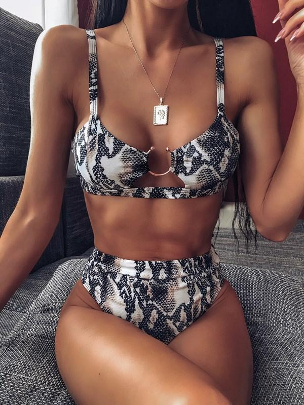 Green Leopard Bikini Solid Color Split Swimsuit