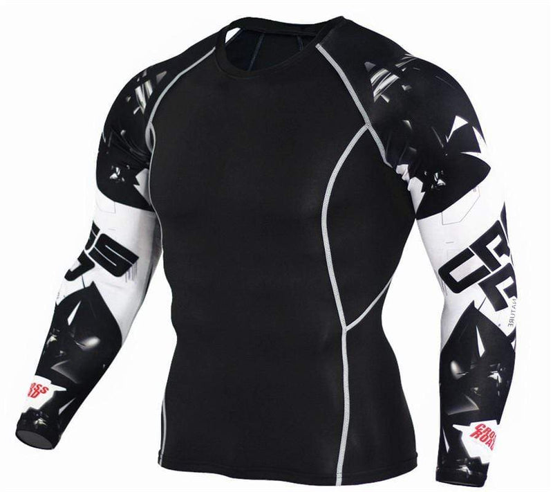 Printed Sleeve Fitness Basketball Compression Men's T-Shirt