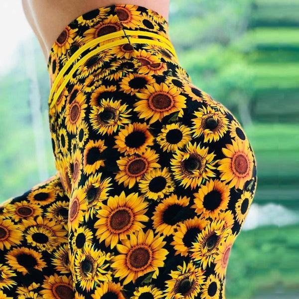 High Waist Push Up Sunflower Printed Leggings