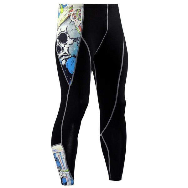 Men's Sports Fitness Skull Printed Pants