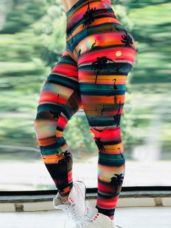 High Waist Push Up Sunset Printed Leggings