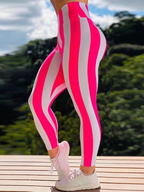 High Waist Push Up  Stripe Printed Leggings