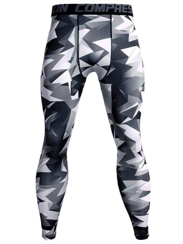 Men's Sports Fitness Triangle Printed Tight Pants