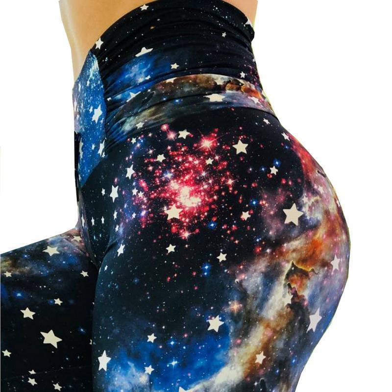 High Waist Push Up Star Printed Leggings