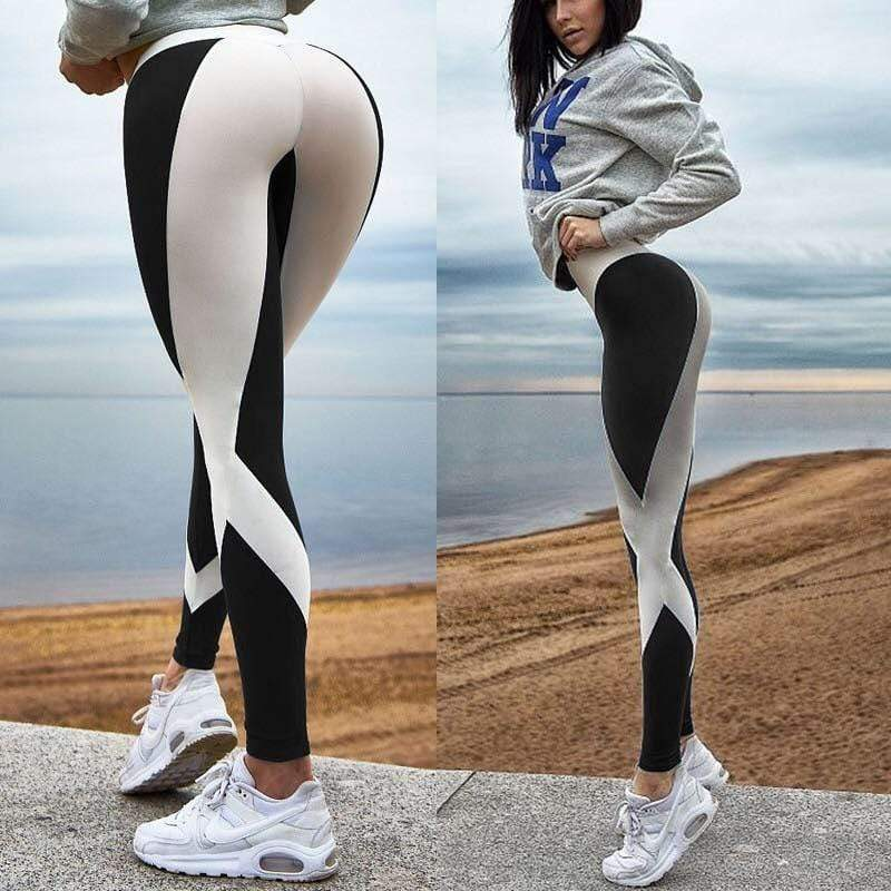 Striped Stitching Print Sports Pants