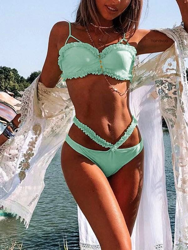 Solid Color Split Lace Swimsuit