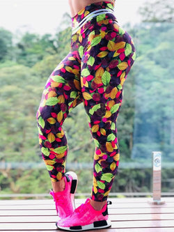 High Waist Push Up Leaves Printed Leggings