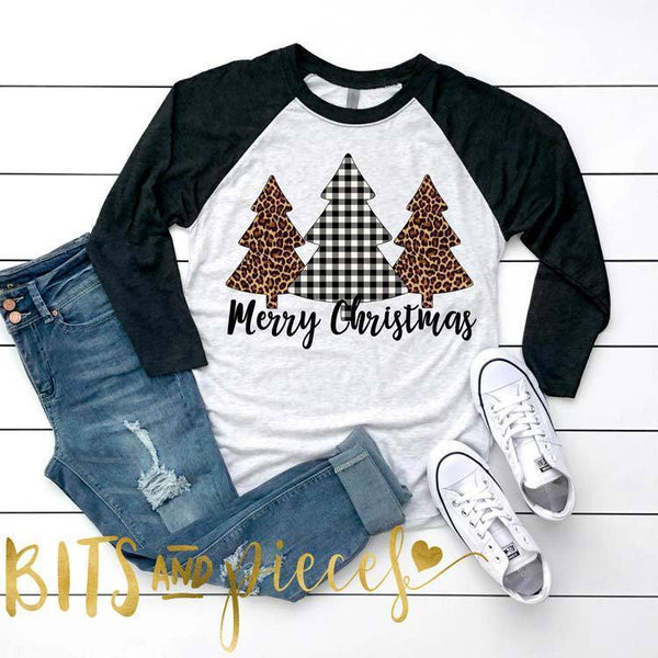 Christmas Merry Christmas Letter Print Round Neck Cropped Sleeve T-Shirt