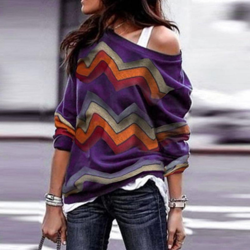 Off-the-shoulder casual long-sleeved geometric print ladies top T-shirt