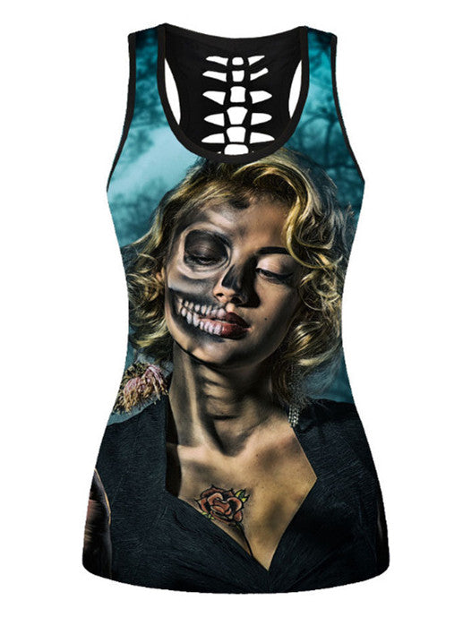 Sexy Fashion 3D Printed Hollow Tank Top