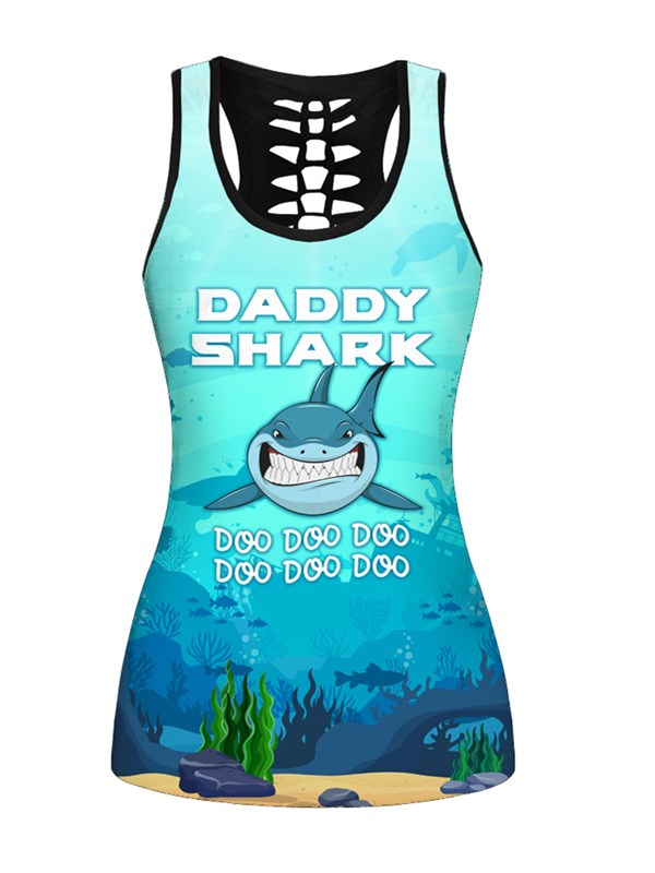 Sexy Fashion Shark 3D Printed Hollow Tank Top A23051
