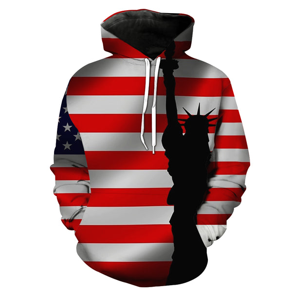 """Star-Spangled Banner"" Couple 3D Print Hooded Sweatshirt"