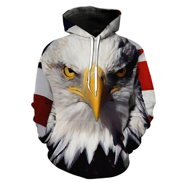 """The Hawk of US"" 3D Printed Hooded Pocket Hooded Sweater"