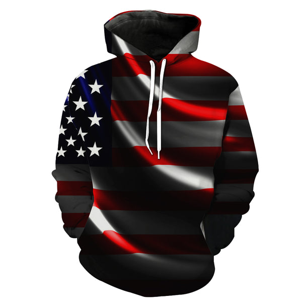 """Flag of the United State"" 3D Printed Hooded Pocket Hooded Sweater"