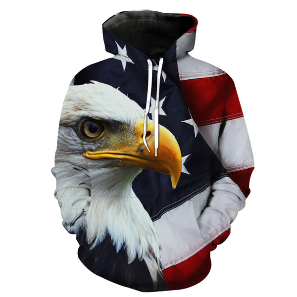 """Symbolize of American's Spirit""3D Printed Hooded Pocket Hooded Sweater"
