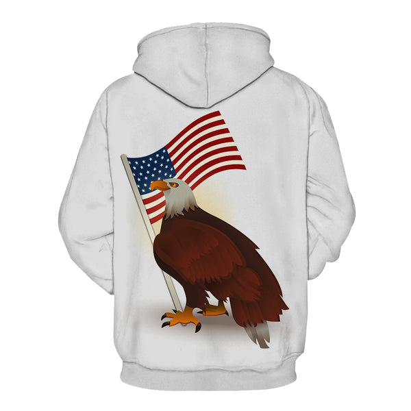 """The Hawk and The Flag"" 3D Printed Hooded Pocket Hooded Sweater"