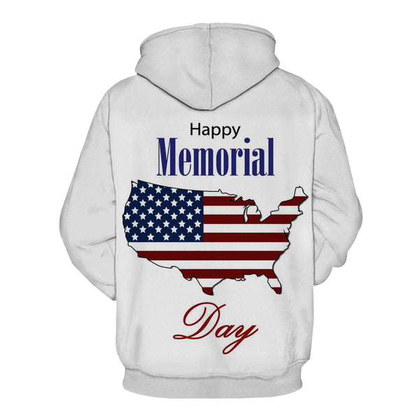 """Happy Memorial Day""3D Printed Hooded Pocket Hooded Sweater"
