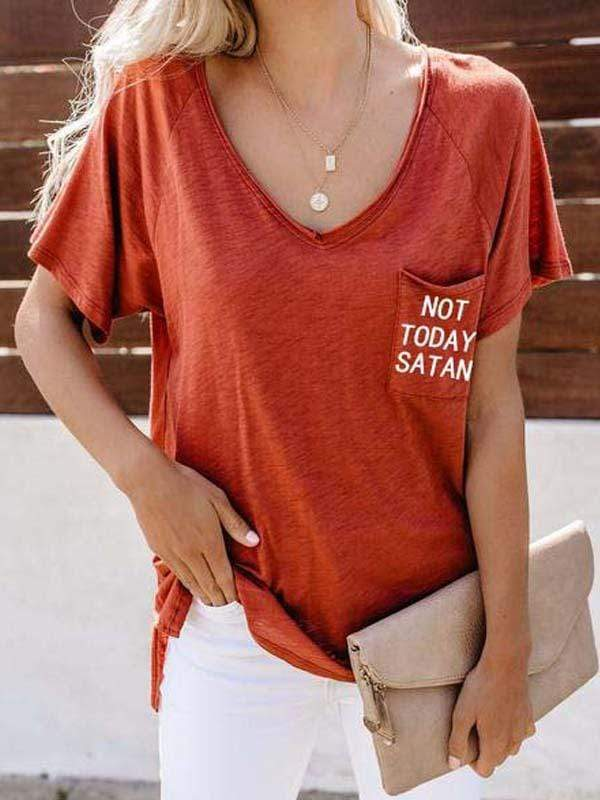 Not Today Satan Letter Printed Pocket Short-sleeved T-shirt