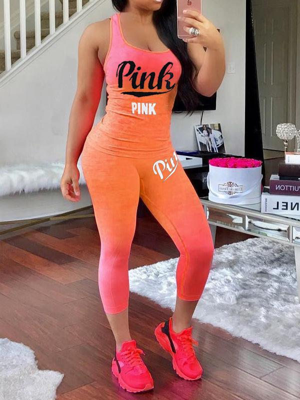 Gradient Color Letter Printed Sports Sets