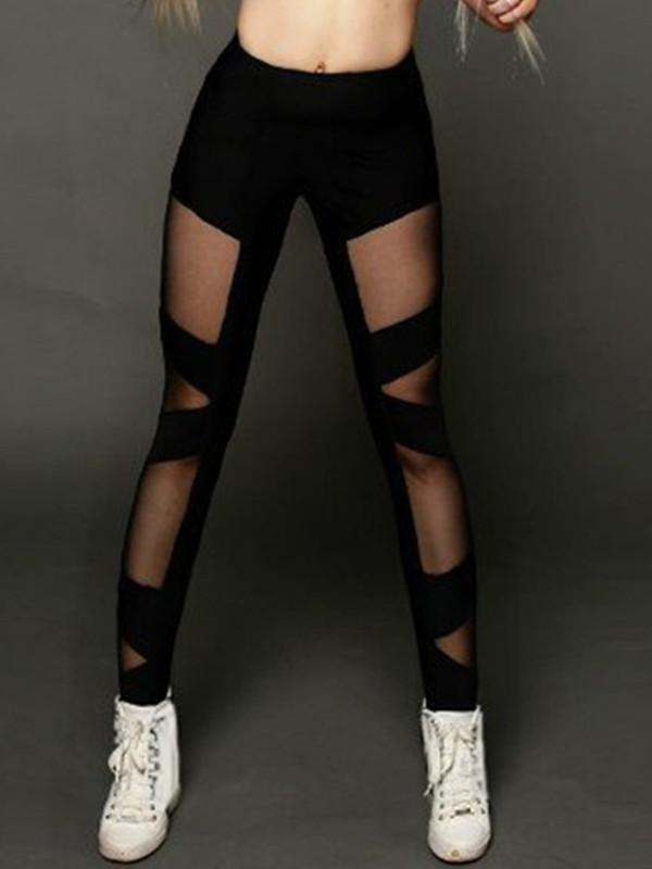 Mesh Stitching Cross Perspective Yoga Pants