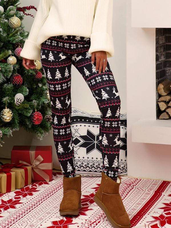 Christmas Tree Moose Printed Leggings