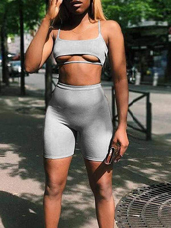 Sexy cutout high waist sports set