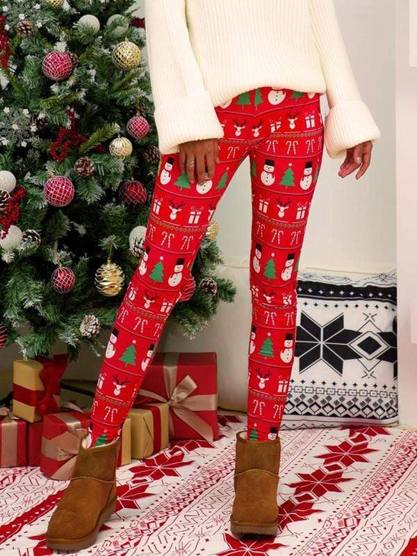 Christmas Snowman Tree Printed Leggings
