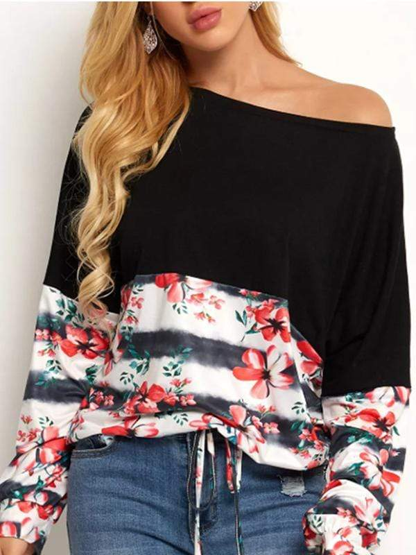 Printed one-shoulder long-sleeved stitching T-shirt