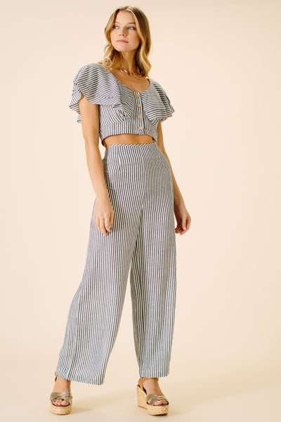 Madelyn Nautical Pant | Navy Stripe