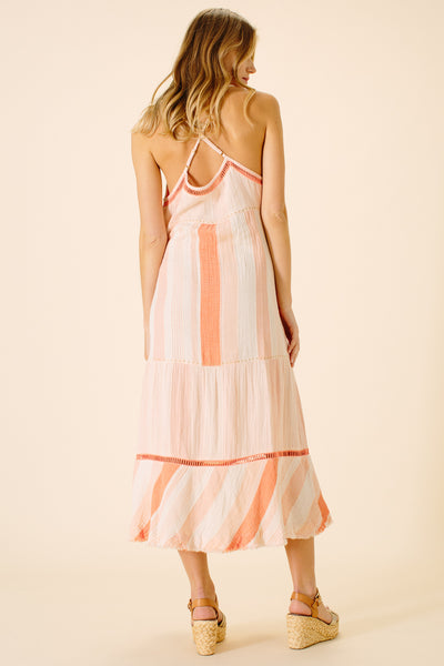 Gabriella Strap Midi Dress | Peach Stripe