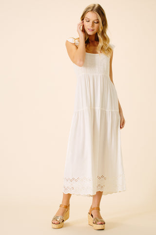 Brooklyn Ruffle Sleeve Dress | White
