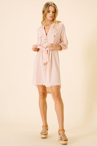 Sadie Safari Pocket Dress | Blush