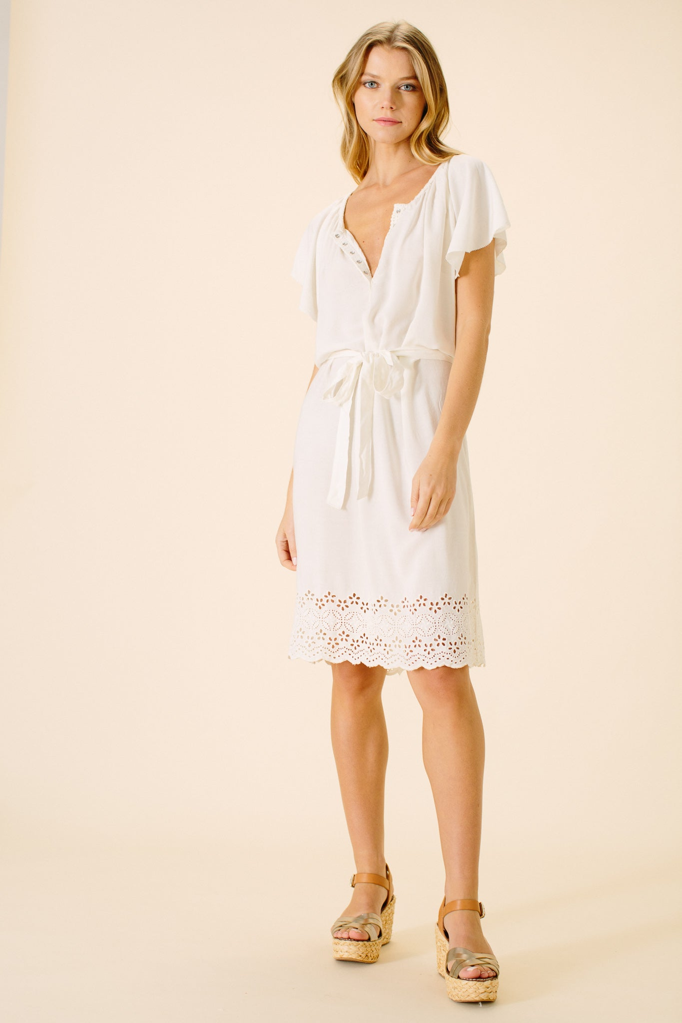 Claire Eyelet Shirt Dress | White